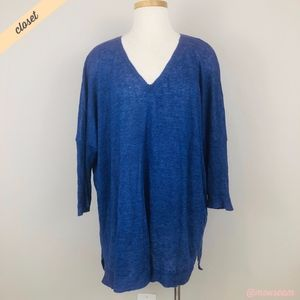 [Eileen Fisher] Blue Linen V-Neck Pullover Sweater